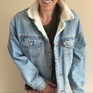Vintage Denim Blue Jean Sherpa Trucker Jacket
